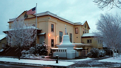 Sakya Monastery, Parinirvana Stupa, prayer wheels, in the snow, American flag, Greenwood, Seattle, Washington, USA by Wonderlane