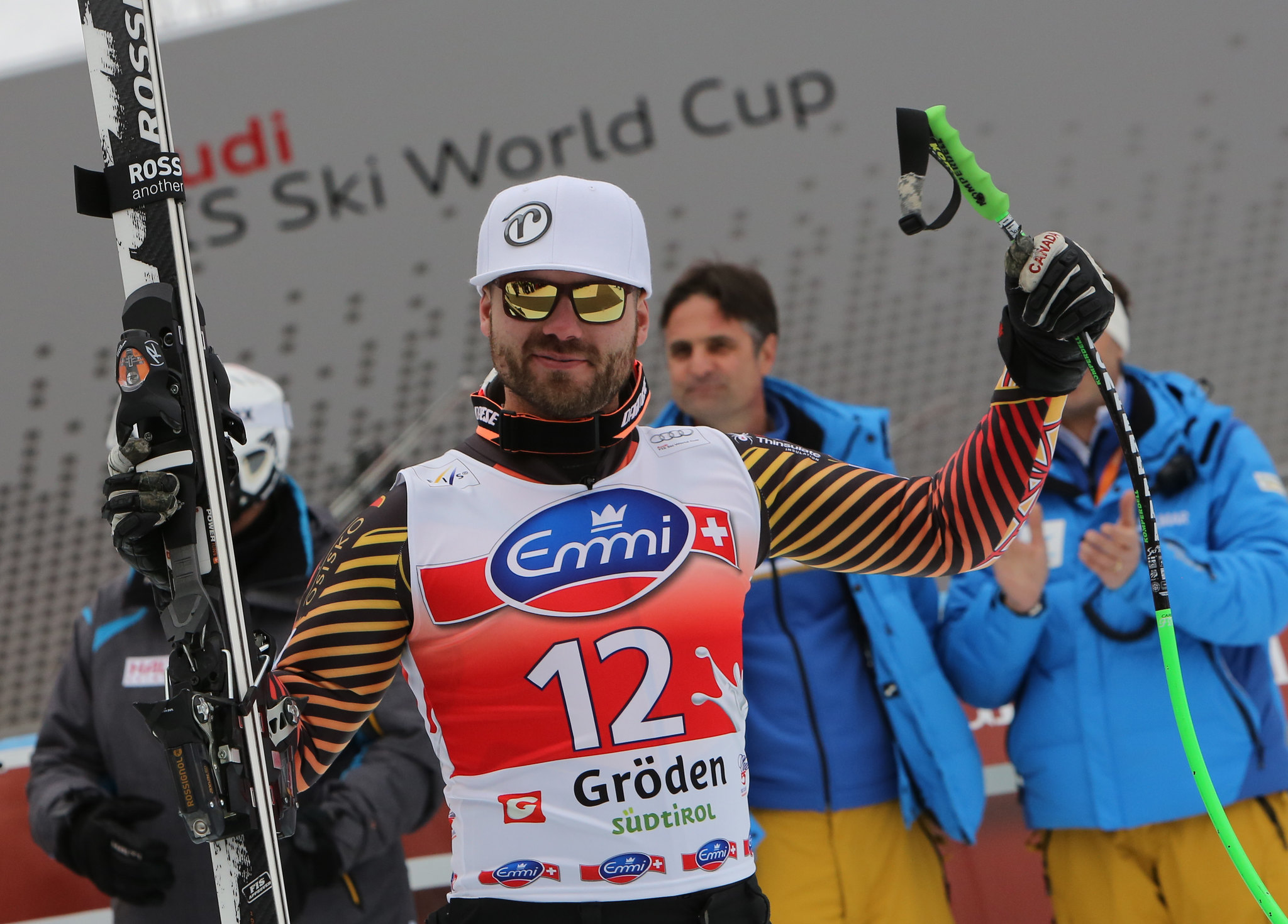 Hudec celebrates a 2nd place finish during the Super-G in Val Gardena, ITA