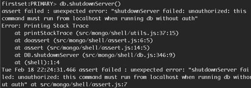 mongod shutdown error
