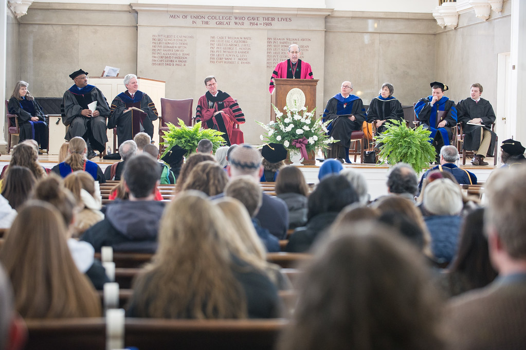 Dr. Alfred Sommer '63 addresses the crowd at Founders Day on global health.
