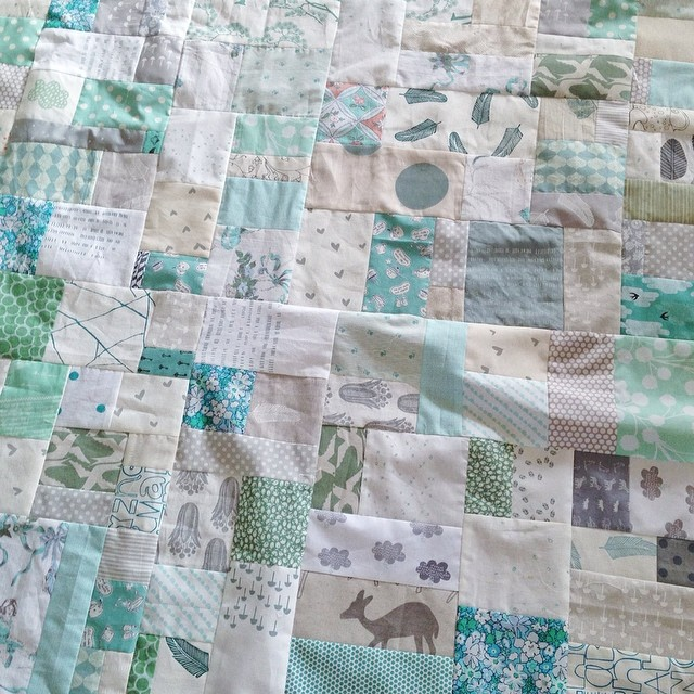 This quilt top is finished!!! Freeform Patchwork in bluey/greens and neutrals for a sweet almost one year old. If you'd like to hang with me and learn this super fun style of patchwork, check out my upcoming workshops with Handmaker's Factory and Treehous