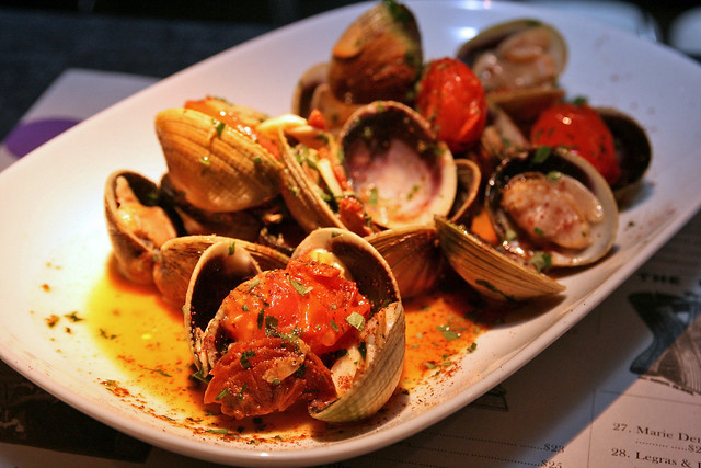 Littleneck clams from New Zealand, sauteed in butter, garlic, chorizo and white wine
