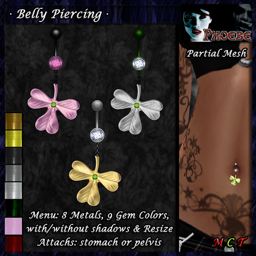 OFFER! *P* Irish Luck Belly Piercing ~8 Metals-9 Gems~