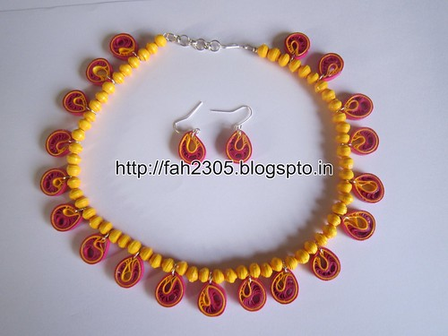 Handmade Jewelry - Paper Quilling Teardrops Jewelry Set (FAH01-225) by fah2305