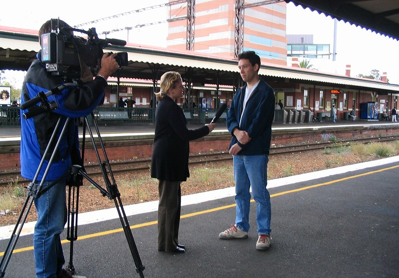 Daniel being interviewed for ABC TV News, 18/4/2004