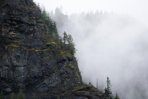 trees cliff mist nature fog stone pine clouds outdoors moss rocks moody gloomy evergreens granite pacificnorthwest wa washingtonstate pnw rugged rattlesnakeledge crag rattlesnakemountain rattlesnakelake 55200mmf456 d3100