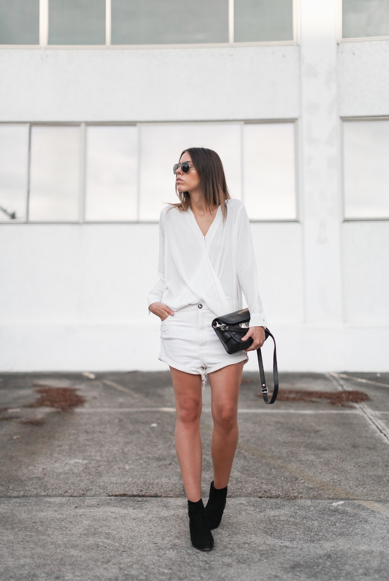modern legacy fashion blog australia street style all white minimalist Proenza Schouler PS11 mini bag Witchery drape shirt One Teaspoon Lovers boyfriend denim shorts black suede ankle boots blogger edit (1 of 4)