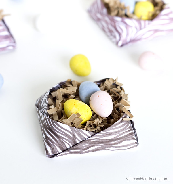 Fold an origami nest for Easter