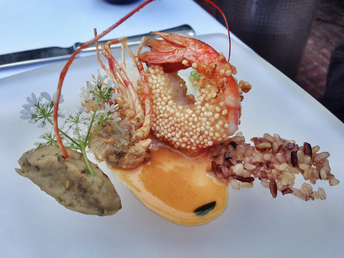 """Arare"" Rice Cracker Crusted Santa Barbara Spot Prawn at SPAGO, Beverly Hills"