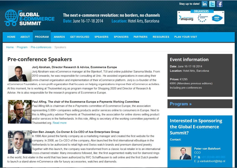Alon Ben Joseph speaking at Global Ecommerce Summit 2014