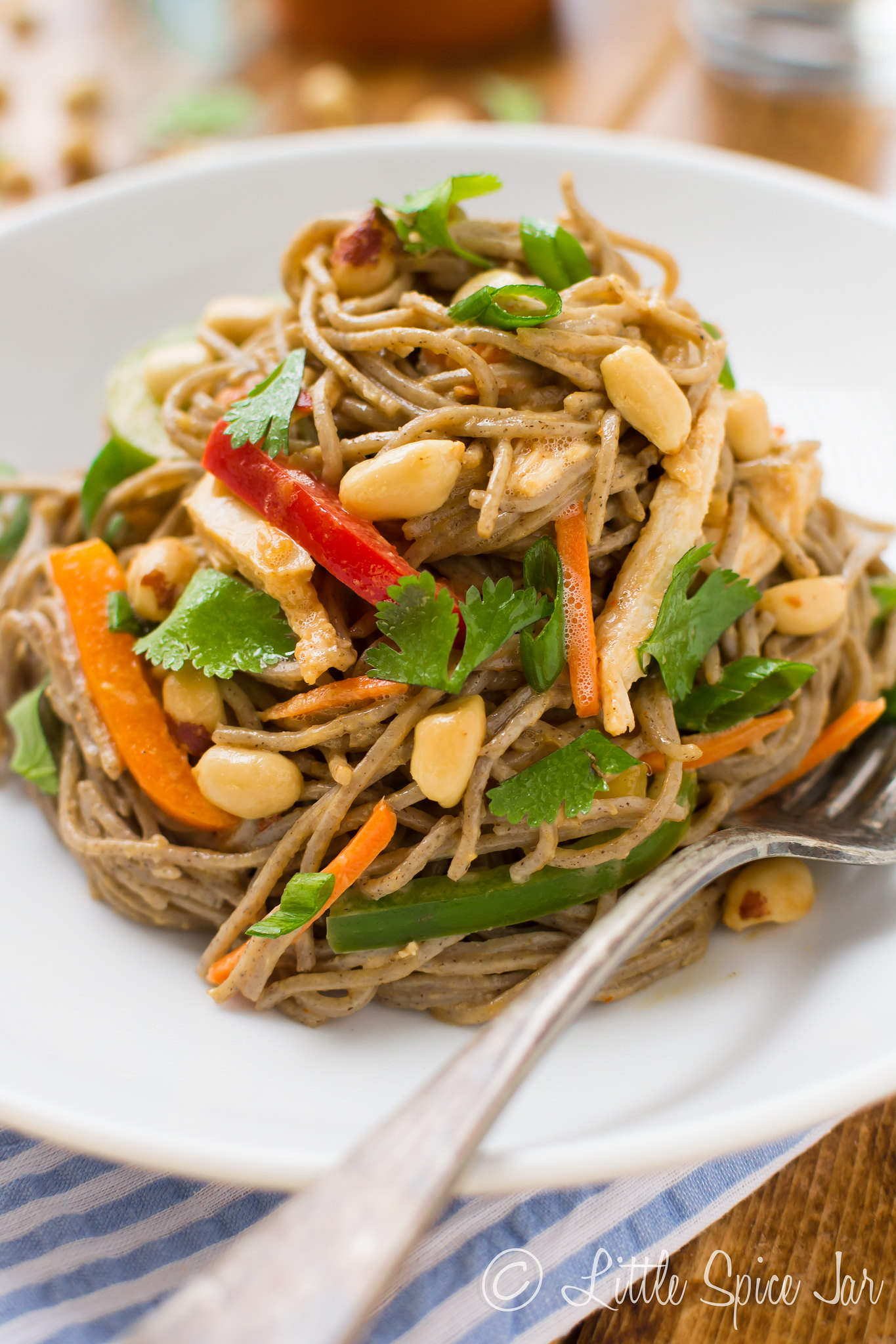 swirled peanut soba noodle salad on white plate with fork