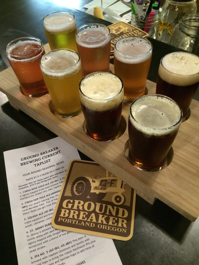 beer sampler with menu at Ground Breaker Brewing_ gluten-free Portland Oregon