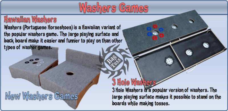 Bag toss washers sets, Hawaiian washers and 3 hole washers