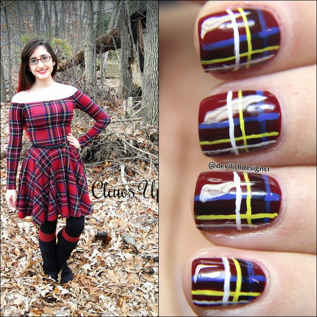 off the shoulder red plaid dress with matching plaid nail art