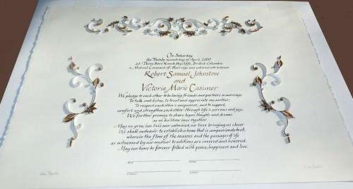 Quilled anniversary certificate by Ann Martin