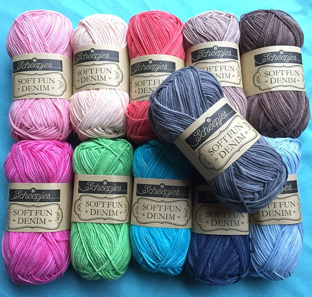 New yarn!  Soft Fun Denim - more cotton/acrylic scrumptiousness from Scheepjes in 11 semi-solid colours!