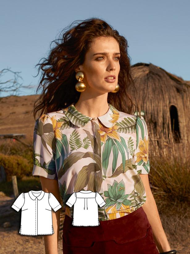 womens blouse sewing pattern 118A-062016-B