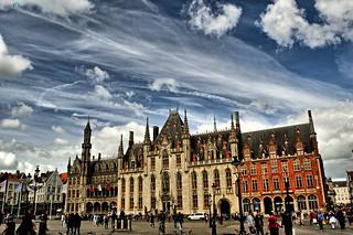 Image of Markt. blue sky clouds belgium euro gothic bruges markt