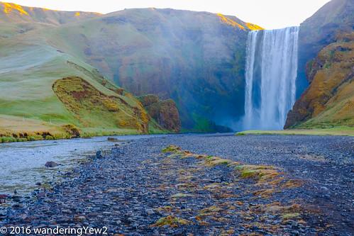 sunrise waterfall iceland skógafoss fujixpro2