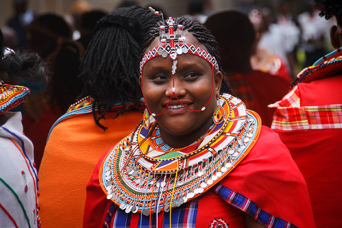A congregant in traditional regalia at the enthronement