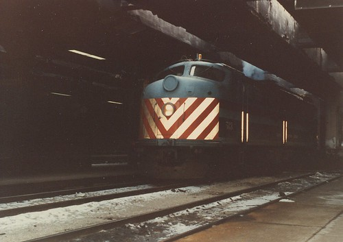 Chicago RTA 1950's era EMD E 8 passenger locomotive idling inside NorthWestern Station. (Gone)  Chicago Illinois.  January 1984. by Eddie from Chicago