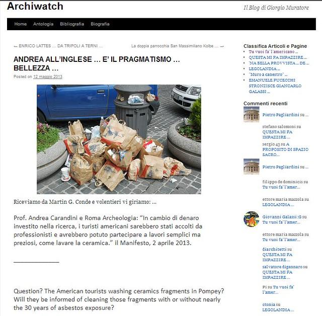 """ROMA e POMPEI ARCHEOLOGIA: """"ANDREA ALL'INGLESE … E' IL PRAGMATISMO … BELLEZZA …"""", ARCHIWATCH - Il Blog di Prof. Arch. Giorgio Muratore (12/05/2013)."""
