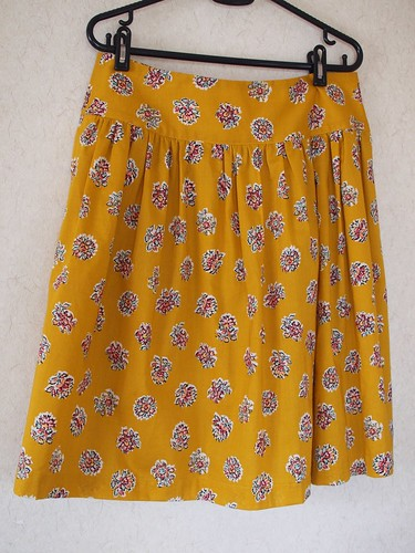 Yellow gathered skirt