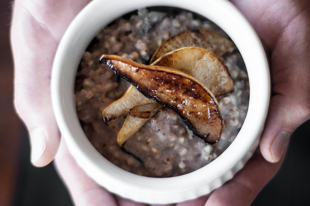 buckwheat porridge with caramelised pear