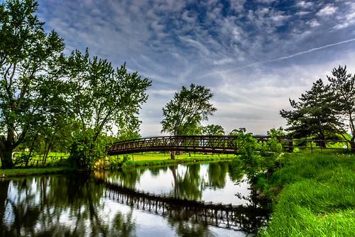 bridge water wisconsin clouds reflections river landscape unitedstates waukesha foxriver waukeshacounty foxriverwalk