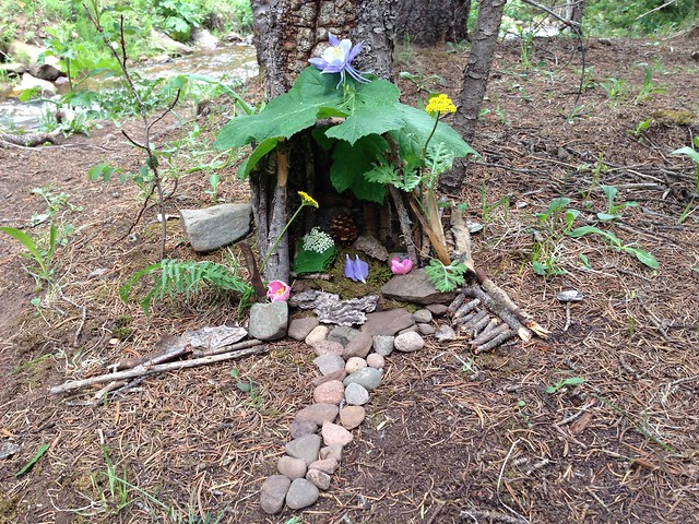 An outdoor fairy house built by Rachel and Mom