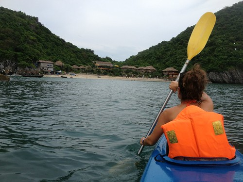 Monkey Island resort from our new unsunk kayak