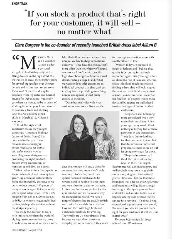 Allium B in Boutique Magazine, August 2013