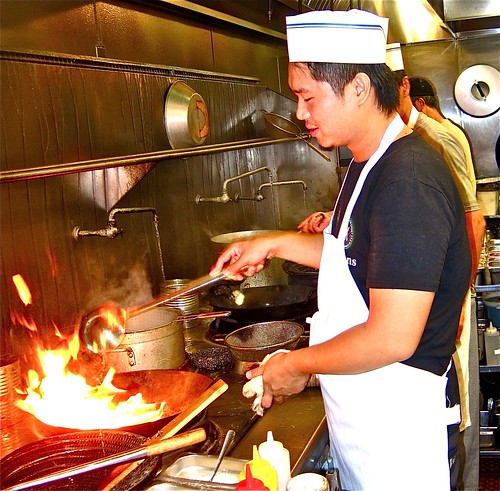 chef manning the wok