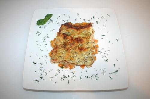 44 - Kürbis-Lachs-Lasagne - Serviert / Pumpkin salmon lasagna - Served