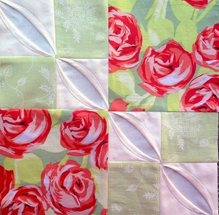 Block 7: faux cathedral window variation – Textured 4-patch quilt