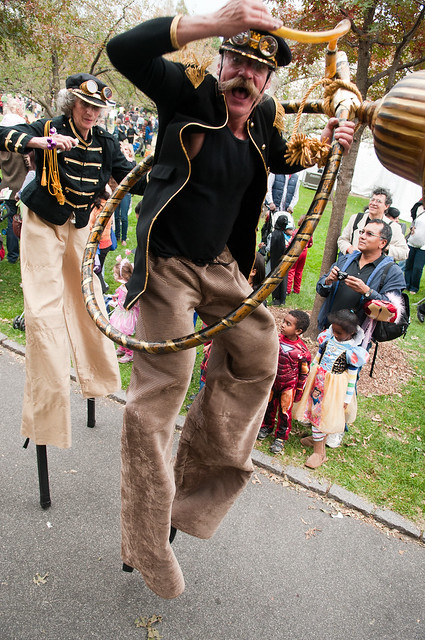 Mortal Beasts & Deities stilt dancers during the Costume Parade. Photo by Jason Gardner.