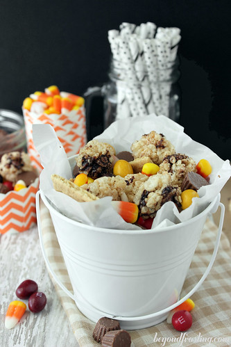 Easy to make Fall Rice Krispie Treat Snack Mix from Beyond Frosting