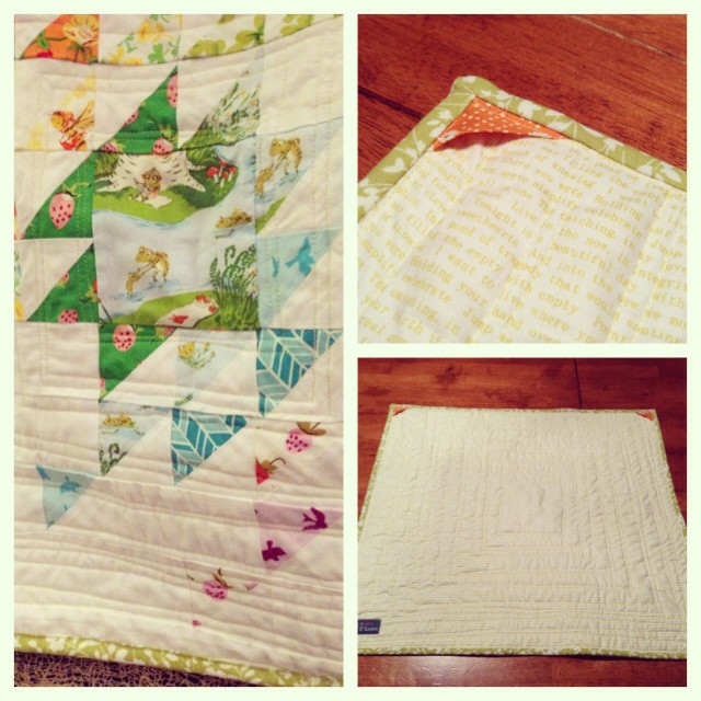 Some details! I added 2 triangles to the back upper corners so it can be hung on a dowel if she wants. #schnitzelandboominiquiltswap #makeaquiltmakeafriend