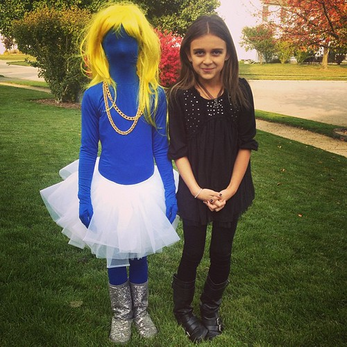 Karli and her buddy before their Halloween Party. Karli is dressed Goth. Her idea ;)