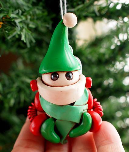 Snowbot Stu Geeky Christmas Ornament by HerArtSheLoves