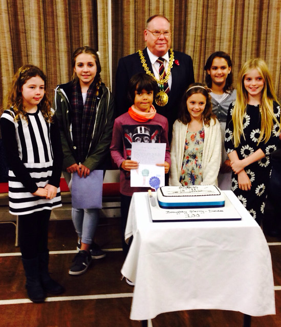 Lord Provost Bob Duncan with Poetry Winners after the Ecumenical Service to Celebrate the life of Broughty Ferry on the Centenary of its Incorporation into Dundee 3 November 2013