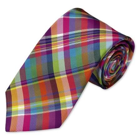 Charles Tyrwhitt Bright multi check handmade tie