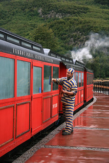 Tierra del Fuego. Railway to the end of the world. Was originally operated by convicts hence the convict uniform used by rail workers today.
