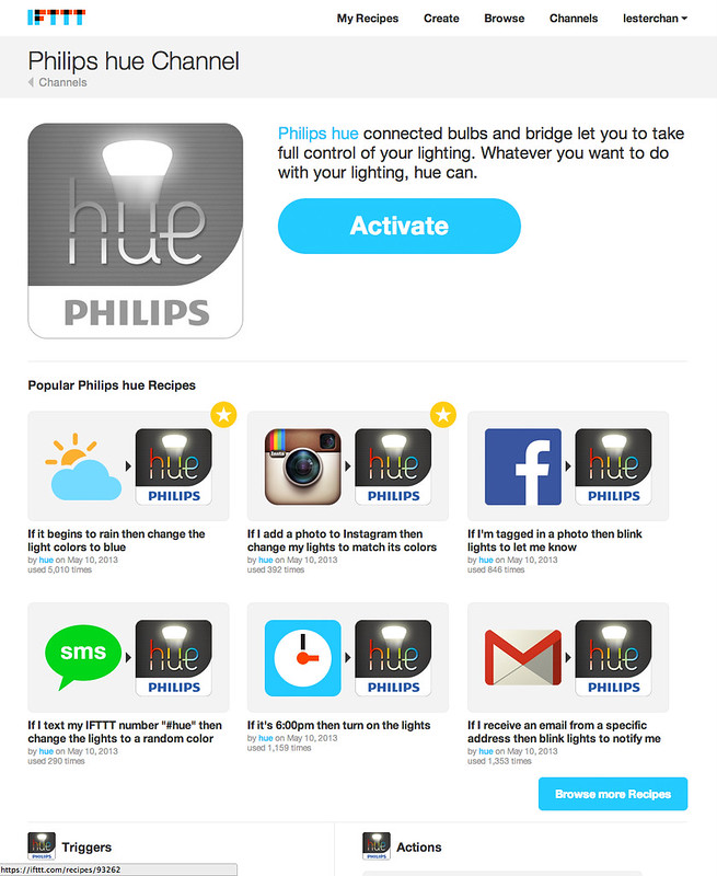 Philips hue - IFTTT Channel