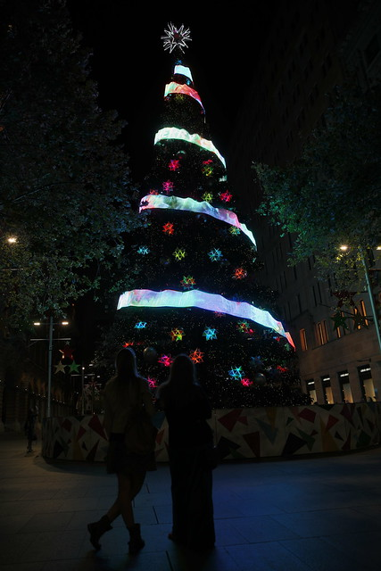Silhouettes Admiring Martin Place Christmas Tree - Sydney Christmas 2013