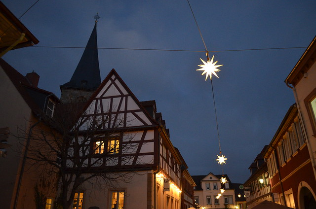 Weihnachtsmarkt Freinsheim city buildings and holiday lights