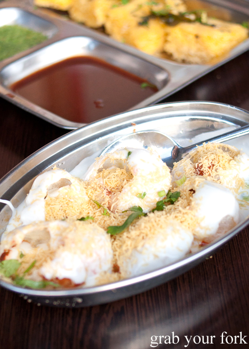 Dahi puri Indian street food at Chatkazz Harris Park