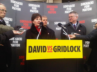 Councillor Gloria Lindsay-Luby, Mayoral Candidate David Soknacki, LRT not Subway, Transit Policy Announcement, Lawrence East SRT Station, Toronto Ontario Canada, 11 a.m. Tuesday January 14 2014 - 023