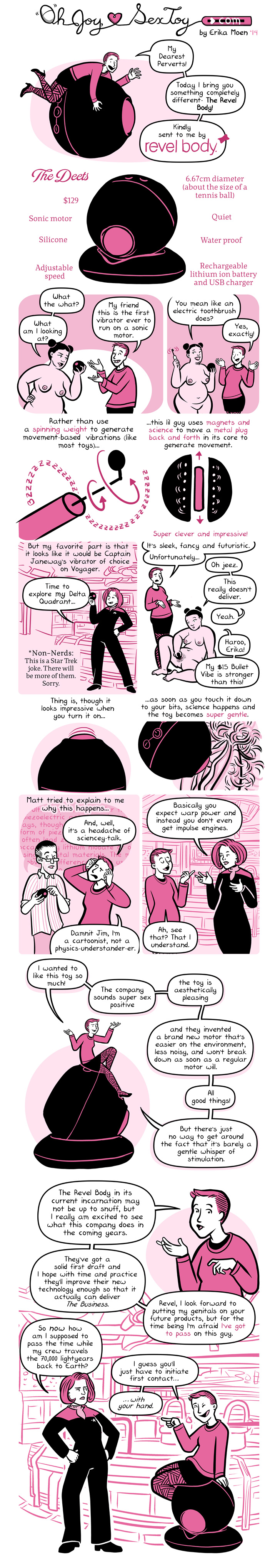 A comic about the revel body vibrator, which says it seems like a vibrator from star trek. However, it is not very strong.
