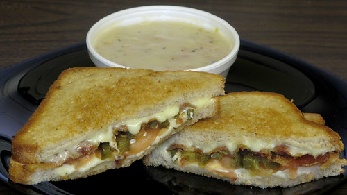 Grilled cheese on rye with bacon, tomato, and jalapeno, with clam chowder by Coyoty